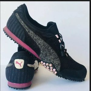 Puma Womens Sneakers Canvas Black Grey/Pink 11